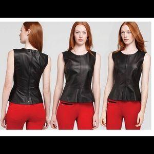 Trina Turk Tatyana Leather Peplum Top
